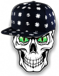 GOTHIC Hip Hop SKULL With GREEN Evil Eyes and Rapper Cap Motif External Vinyl Car Sticker 100x78mm